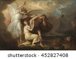 The Expulsion of Adam and Eve from Paradise, 1791, by Benjamin West, by Anglo-American painting, oil on canvas. Archangel Michael expels Adam and Eve, who wear coats of skins