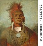 See-non-ty-a, an Iowya Medicine Man, by George Catlin, 1844-45, American painting, oil on canvas. This portrait was made in London, where See-non-ty-a and 13 other Ioways traveled with white missiona