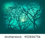 tree silhouette in vintage... | Shutterstock . vector #452836756