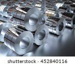 3d rendering roll of steel sheet   Shutterstock . vector #452840116