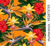 tropical flowers vector pattern | Shutterstock .eps vector #452873755