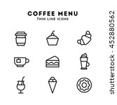 coffee menu. thin line icons. | Shutterstock .eps vector #452880562