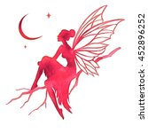 hand paint fairy looking at the ... | Shutterstock .eps vector #452896252