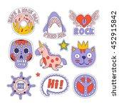 skull  doughnut  cat and others ... | Shutterstock .eps vector #452915842