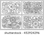 set of floral card. hand drawn... | Shutterstock .eps vector #452924296