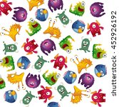 colorful cute monsters fun... | Shutterstock . vector #452926192