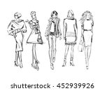 sketch. fashion girls on a...   Shutterstock .eps vector #452939926