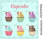 color hand drawn sweet cupcakes ... | Shutterstock .eps vector #452959906