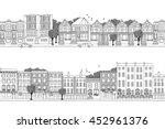 two hand drawn seamless city... | Shutterstock .eps vector #452961376