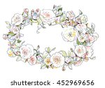 beautiful floral hand drawn... | Shutterstock . vector #452969656
