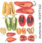 lots of different chillies in a ...   Shutterstock . vector #452977162