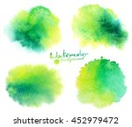 green watercolor stains vector... | Shutterstock .eps vector #452979472