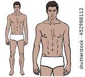 male body template. caucasian...   Shutterstock .eps vector #452988112