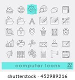 set of computer icons. line... | Shutterstock .eps vector #452989216