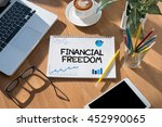 financial freedom open book on... | Shutterstock . vector #452990065