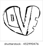 heart with love lettering on... | Shutterstock .eps vector #452990476