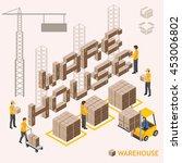 isometric warehouse vector... | Shutterstock .eps vector #453006802