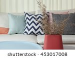 colorful pillows on a sofa with ... | Shutterstock . vector #453017008