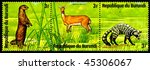 "Small photo of REPUBLIC OF BURUNDI - CIRCA 1976: a postage stamp shows image of the animals of savanna, ""aonyx capensis, redunca redunca, viverra civetta"", circa 1976"