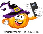 cartoon halloween pumpkin... | Shutterstock .eps vector #453063646