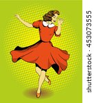 beautiful woman dancing.... | Shutterstock . vector #453073555