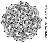 hand drawn mandala of feathers... | Shutterstock .eps vector #453090952