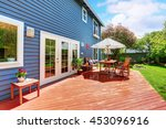 wooden walkout deck in the... | Shutterstock . vector #453096916