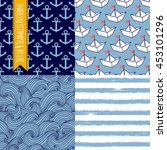 set of 4 seamless patterns with ... | Shutterstock .eps vector #453101296