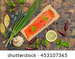 fresh trout steak with spices ... | Shutterstock . vector #453107365