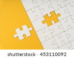 adding last jigsaw puzzle to... | Shutterstock . vector #453110092