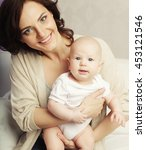 portrait of happy mother and... | Shutterstock . vector #453121546