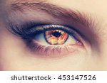 close up of an eye with flames... | Shutterstock . vector #453147526