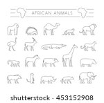 set outline african animals.... | Shutterstock . vector #453152908