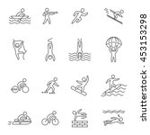 outline icons for extreme... | Shutterstock . vector #453153298
