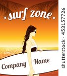 surfing zone poster. girl with... | Shutterstock .eps vector #453157726
