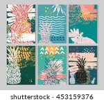 summer hand drawn abstract... | Shutterstock .eps vector #453159376