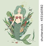 hand drawn cute cartoon mermaid.... | Shutterstock .eps vector #453160582