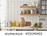 white tiles wall modern kitchen ... | Shutterstock . vector #453190402