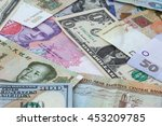 heap of several currencies... | Shutterstock . vector #453209785