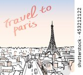 vector illustration of eiffel... | Shutterstock .eps vector #453212122