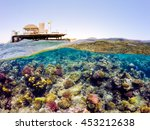 underwater and surface split... | Shutterstock . vector #453212638