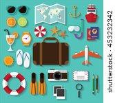 summer travel. stuff for... | Shutterstock .eps vector #453232342