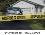 do not cross tape at a crime... | Shutterstock . vector #453232906