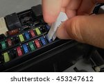 close up of car fuse box detail ...   Shutterstock . vector #453247612