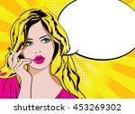 pop art woman with cigarette.... | Shutterstock .eps vector #453269302