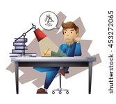 lazy man vector cartoon with...   Shutterstock .eps vector #453272065