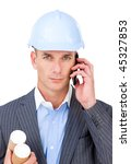 serious male architect on phone ...   Shutterstock . vector #45327853