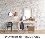 brick wall horizontal banner... | Shutterstock . vector #453297382