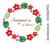 hibiscus summer flower frame | Shutterstock .eps vector #453362902