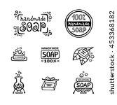hand drawn labels for handmade... | Shutterstock .eps vector #453368182